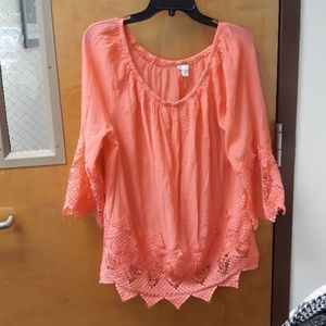 Est. 1946 coral polyester top
